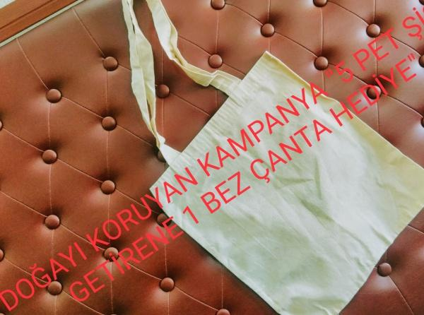 """983e2071264d3 Doğayı koruyan kampanya """"5 pet şişe getirene 1 bez çanta hediye"""" - Mustafa  Sökmen Ortaokulu"""